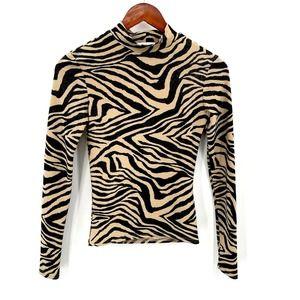 Top Shop Animal Print Mock Neck Long Sleeve Top 4